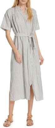 Frame Belted Linen Midi Dress
