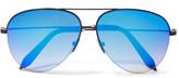 Victoria Beckham Aviator-style Metal Mirrored Sunglasses - Blue