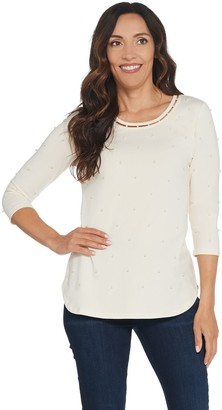 Isaac Mizrahi Live! Faux Pearl Embellished Knit Top