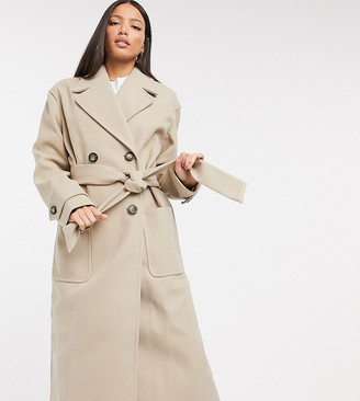 Asos Tall ASOS DESIGN Tall belted luxe maxi coat in camel