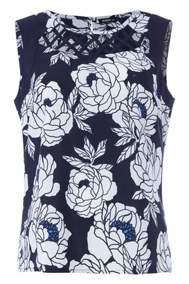 Roman Originals Women Floral Lattice Front Sleeveless Top - Ladies Spring Summer Casual Holiday Cruise Travel Round Neck Vibrant Tropical Flowery Printed Fashion Vest Tops - Navy - Size 10