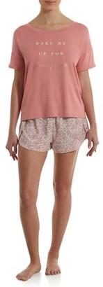 Danskin Women's Peached Short Sleeve Shirt and Shorts Pajama Set