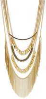 BCBGeneration Gold-Tone Multi-Chain Polished Disc and Fringe Statement Necklace