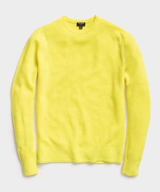 Todd Snyder Italian Merino Waffle Crew Sweater in Neon Yellow