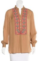 Haute Hippie Silk Embroidered Blouse