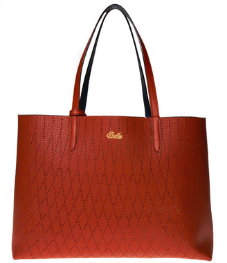 Bally Rory Red & Blue Leather Reversible Holed Bag