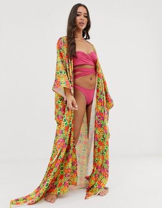 Sian Marie Hemera beach kimono in tropical-Multi