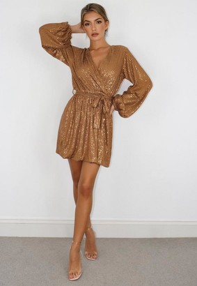 Missguided Petite Bronze Balloon Sleeve Wrap Sequin Dress