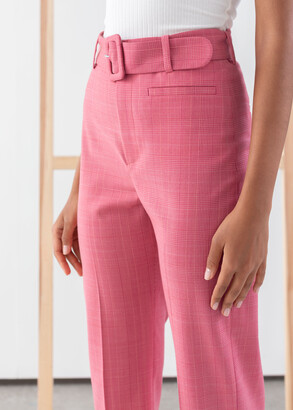 And other stories Belted Plaid Kick Flare Trousers