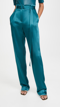 Sally LaPointe Doubleface Satin High Waisted Belted Pants