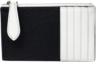 Burberry Black/White Leather Alwyn Zip Card Holder