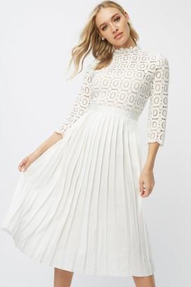 Little Mistress Alice White Crochet Top Midi Dress With Pleated Skirt