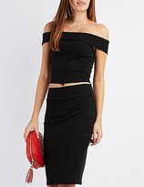 Charlotte Russe Off-The-Shoulder Cut-Out Crop Top