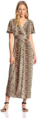 Star Vixen Women's Short Sleeve Surplice Flutter Sleeve Maxi Dress