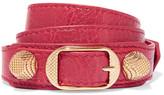 Balenciaga Giant Triple Tour Textured-leather And Gold-tone Bracelet - M