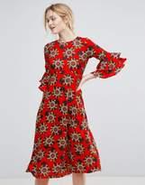 Traffic People Floral Print Midi Dress