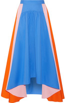 Peter Pilotto Asymmetric Cotton-poplin Skirt - Bright blue