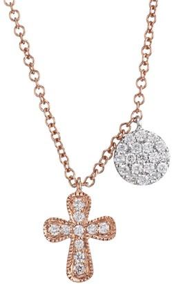 Meira T 14K Rose Gold & Diamond Cross & Round Pendant Necklace