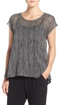 Eileen Fisher Petite Women's Print Crinkled Silk Scoop Neck Top