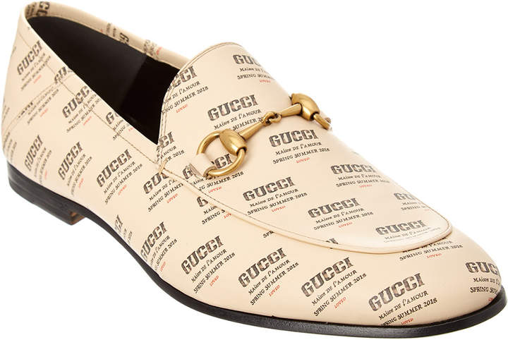 Gucci Stamp Print Leather Loafer