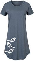 Scandinavian Instant Message Women's Women's Tee Shirt Dresses HEATHER - Heather Blue & White Birds Short-Sleeve Dress - Women & Plus