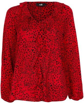 Wallis Animal Ruffle Blouson Sleeve Top - Red