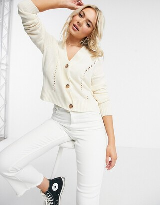 JDY knitted cardigan with stitch detail in cream