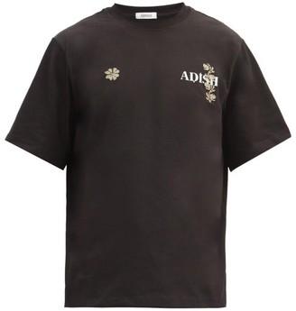 Adish - Logo-print Floral Cross-stitch T-shirt - Black