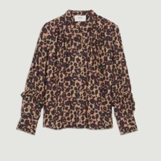 BA&SH Camel Viscose Leopard Printed Tim Shirt - 0 | viscose | camel - Camel