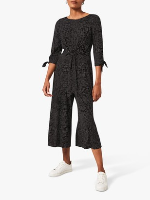 Phase Eight Amber Spot Print Jumpsuit, Black/White