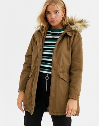 Cotton On Cotton:On Saffron parka coat with faux fur trim-Green