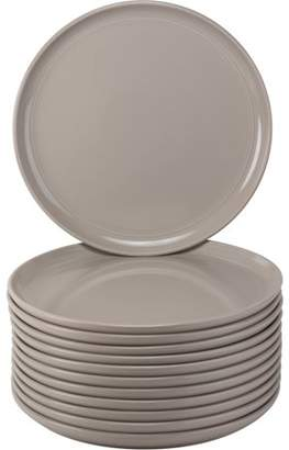 """Ten Strawberry Street 10 Strawberry Street Double Line Catering Pack, Set of 12 Gray Dinner Plates 10.25"""""""