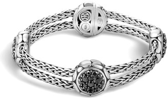 John Hardy Kali Pure Lava Fire Four-Station Bracelet with Black Sapphire