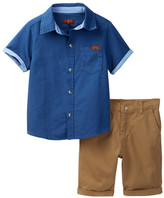 7 For All Mankind Short Sleeve Shirt & Twill Bottom 2-Piece Set (Toddler Boys)