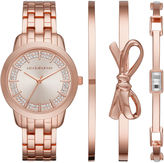 Liz Claiborne Womens Rose-Tone 4-pc. Bangle and Watch Set