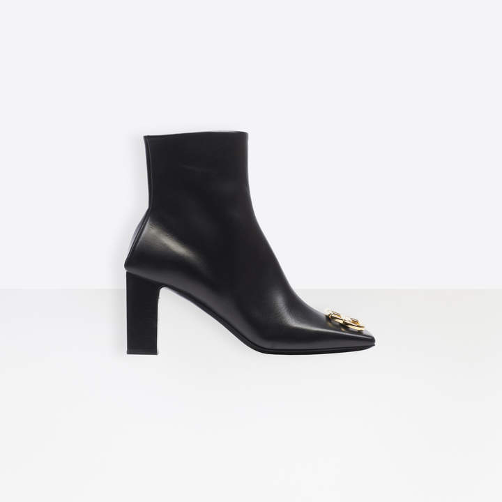 Balenciaga BB Double Square 80mm Zipped Booties in black leather and shiny gold hardware