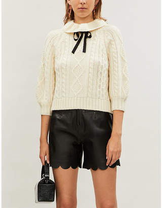 RED Valentino Bow-embellished cable-knit wool jumper