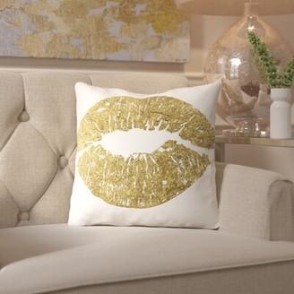 "Lips Throw Pillow House of Hampton Size: 16"" H x 16"" W x 2"" D"
