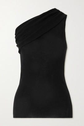Rick Owens One-shoulder Ribbed Wool Top - Black