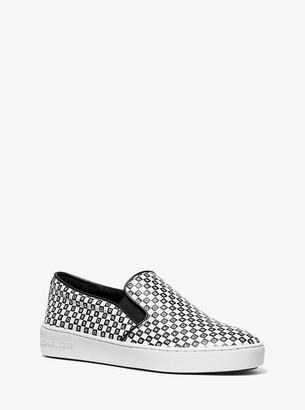 MICHAEL Michael Kors Keaton Checkerboard Logo Leather Slip-On Sneaker