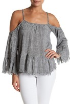 En Creme Woven Cold Shoulder Blouse