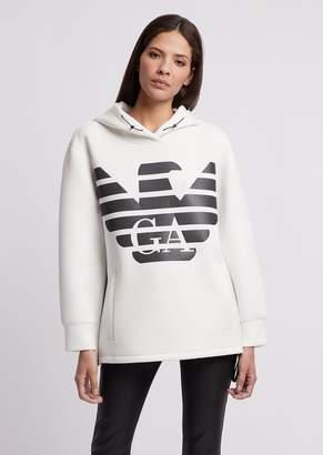Emporio Armani R-Ea-Mix Sweatshirt In Lightweight Scuba Fabric With Hood