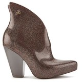 Melissa Women's Satyr Pointed Heeled Ankle Boots Plum Glitter