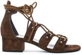 Saint Laurent Babies Suede Lace Up Sandals