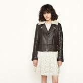 Maje Leather jacket with removable collar