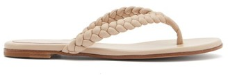 Gianvito Rossi Braided Leather Flip Flops - Beige