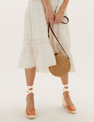 Marks and Spencer Leather Ankle Strap Wedge Espadrilles