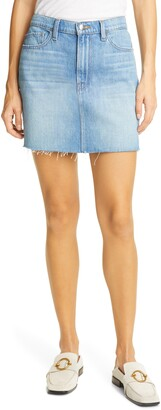 Frame Le Mini Raw Edge Twist Denim SkirtLE MINI SKIRT RAW EDGE TWIST
