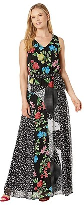 Calvin Klein V-Neck Belted Chiffon Maxi (Black/Blue Multi) Women's Clothing