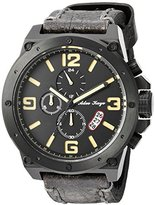 Adee Kaye Men's Quartz Stainless Steel and Leather Dress Watch, Color:Black (Model: AK8896-MIPB-BN / LB)